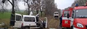 На Львівщині не розминулись автобус і легковик, є загиблий: фото страшної ДТП