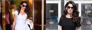 Черное или белое: два эффектных образа Амаль Клуни для офиса и деловых встреч