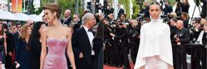 Блискітки та елегантна класика: Жозефін Скрівер змінила два стильні образи на доріжці в Каннах