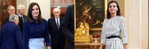 """Королевский синий и нестандартный """"горох"""": Летиция продемонстрировала два стильных выхода"""