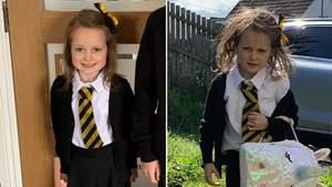 Сеть покорили смешные фото девочки после первого дня в школе