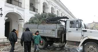 У Гостиному дворі зрубали ялинки і вивезли вантажівками (Фото)