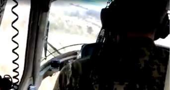 Уникальное видео из кабины военного вертолета, упавшего возле Краматорска