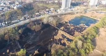 Крупный пожар на прудах в Киеве: опубликовали эффектное видео