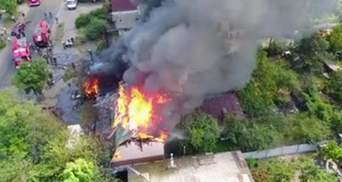 Огромный пожар в Киеве сняли с высоты птичьего полета