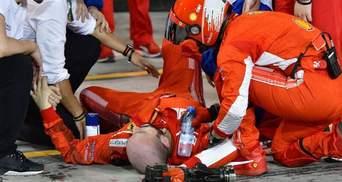 Известный пилот Формулы 1 во время гонки сломал ногу своему механику: жуткое видео (18+)