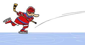 Игру Путина в хоккей изобразили в карикатуре