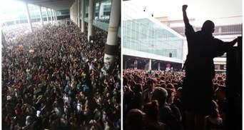 Массовые беспорядки в Барселоне: люди перекрыли международный аэропорт