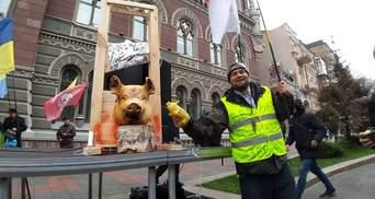 У Києві знову протестують із мертвою свинею: цього разу під НБУ – фото і відео