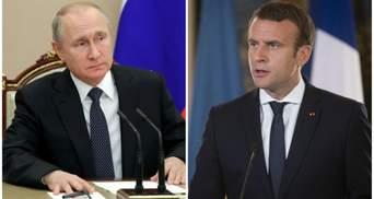 О газе и особом статусе Донбасса: вслед за разговором с Меркель Путин поговорил и с Макроном