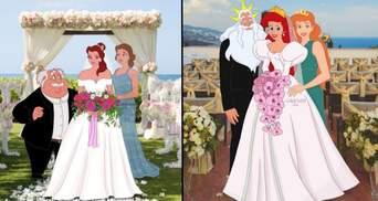 Художница превращает принцесс из мультиков на современных невест и беременных: иллюстрации