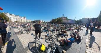 Пів тисячі велосипедистів зробили цікавий флешмоб у центрі Києва: вражаючі фото