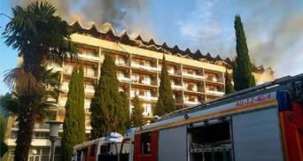 Пожар в санатории в Ялте потушили, пострадавших нет: видео