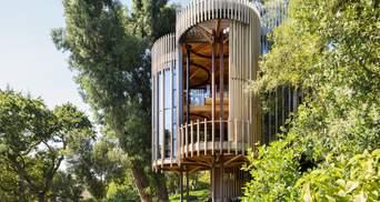 Жизнь в капсуле: в ЮАР построили деревянный дом в форме скрепленных стволов – фото