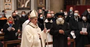 Папа Римський провів різдвяну месу в умовах пандемії: відео