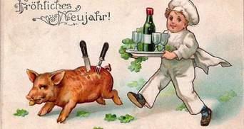 Дивні та кумедні новорічні листівки зі свинями початку 20 століття з усього світу