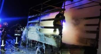 На Днепропетровщине во время движения загорелся грузовик: фото, видео