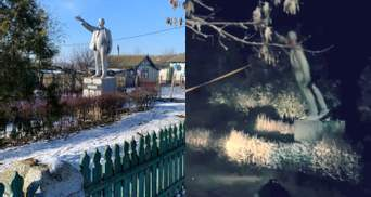 Неизвестные снесли последний в Украине памятник Ленину: фото
