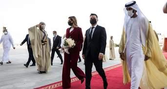 Олена Зеленська обрала вишуканий костюм винного кольору: фото та відео візиту до ОАЕ