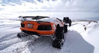 Спорткары на снегу: из Lamborghini сделали танк на гусеницах – видео