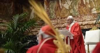 Папа Римський провів службу на Вербну неділю майже без вірян: фото