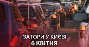 Пробки в Киеве утром 6 апреля: онлайн-карта вся обозначена красным