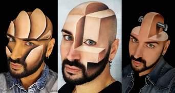Итальянский визажист рисует пугающие трехмерные иллюзии на своем лице