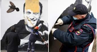 """""""Герой нового часу"""": у Росії з'явилося графіті з Навальним, але його одразу замалювали"""
