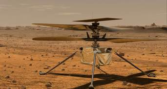 Марсианский вертолет Ingenuity в полете снял ровер Perseverance