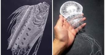 З одного аркуша паперу: японська мисткиня робить неймовірні витинанки морських істот
