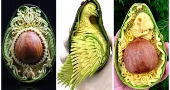 Талантливый мастер вырезает скульптуры внутри авокадо: удивительные фото