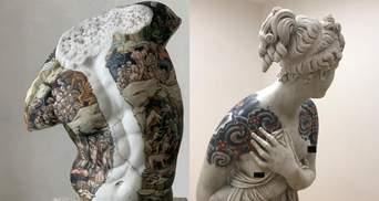 Это подходит всем: мастер делает настоящие тату мраморным скульптурам – фото