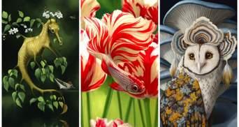 Об'єднує флору і фауну: художник-самоучка створює гібридних міфічних істот