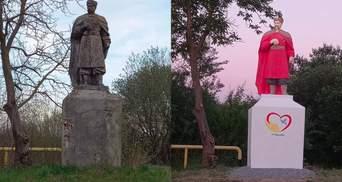Робили, як вміли: на Львівщині незвично розфарбували пам'ятник Хмельницькому – курйозні фото