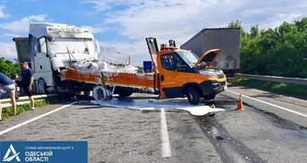На трассе Киев – Одесса грузовик сбил двух дорожных работников: видео