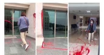 У Грузії після смерті журналіста будівлю уряду облили червоною фарбою: відео