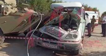 У Росії зіштовхнулися БТР Росгвардії і маршрутка: 2 пасажирів загинули