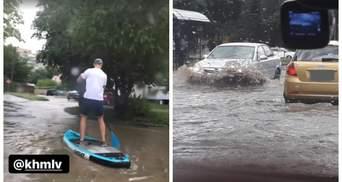 """Мощный ливень затопил Хмельницкий: город """"поплыл"""" – видео"""