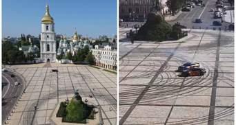 Без ограждений и разрешения: на Софийской площади Киева дрифтовали авто Red Bull – видео