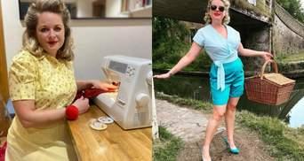 Яркие образы из занавесок и простыней: мама создает одежду для себя и семьи в стиле 50-х