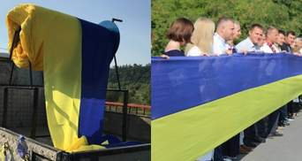 Довжиною у 3 кілометри: між двома областями розгорнули рекордно великий прапор України