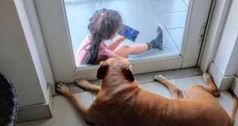 Зворушлива дружба крізь скло: маленька дівчинка прийшла, щоб посидіти зі старим собакою