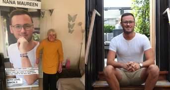 Огромный баннер с собственным фото: внук придумал оригинальный подарок для 90-летней бабушки