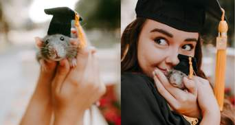 На выпускной с крысой: зачем девушка принесла на праздник хвостатого любимца