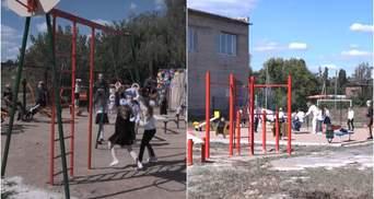 Навчання під звуки обстрілів: дітям прифронтових шкіл облаштували сучасні майданчики