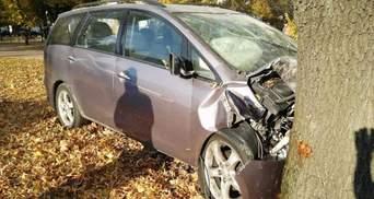 На Киевщине 20-летняя женщина-водитель влетела в дерево: пострадал несовершеннолетний