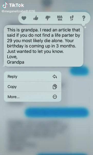 Что написал дедушка / Скриншот тикток meganelizabeth1016