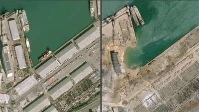 Разбросанные корабли и яма на месте взрыва: спутниковые снимки разрушенного порта в Бейруте