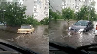 На зміну граду прийшла злива: Дніпро знов потерпає від потужної негоди – відео