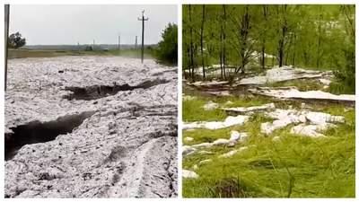 Зима летом: в Кировоградской области выпал гигантский град – видео